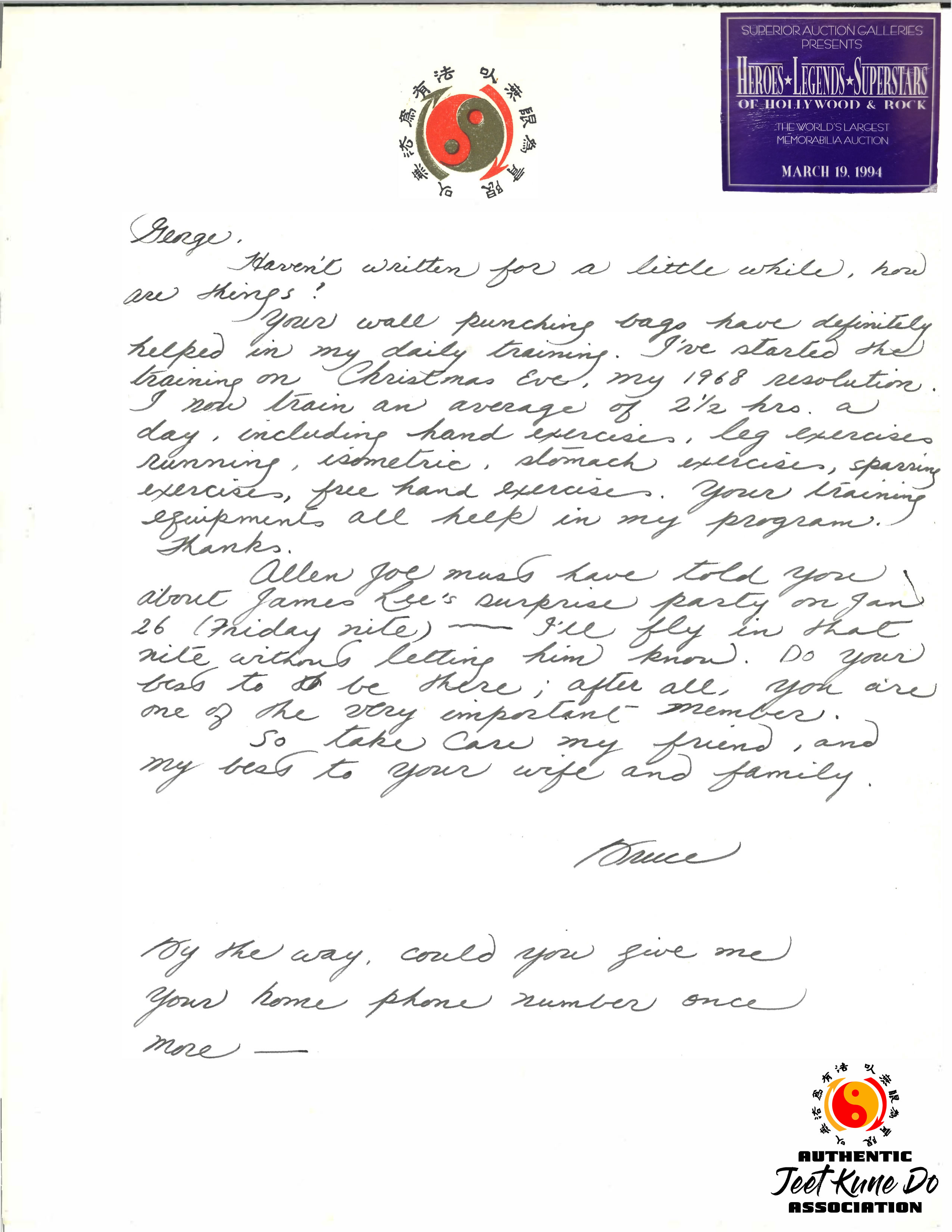 Bruce Lee's Letter to George Son Lee purchased at the Superior Auction Galleries on March 19, 1994. (Property of Michael Gonzales, Chief Instructor for the AJKD Association)